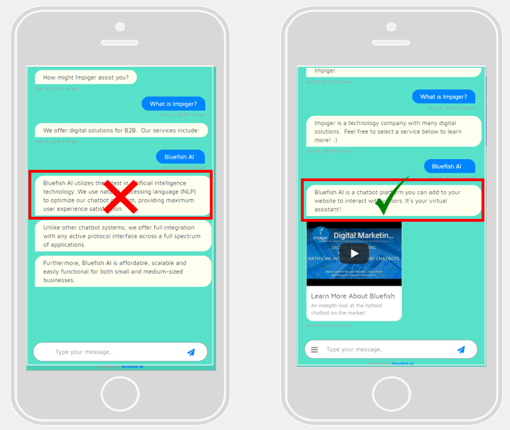 example of good versus bad dialogue writing for chatbot UX