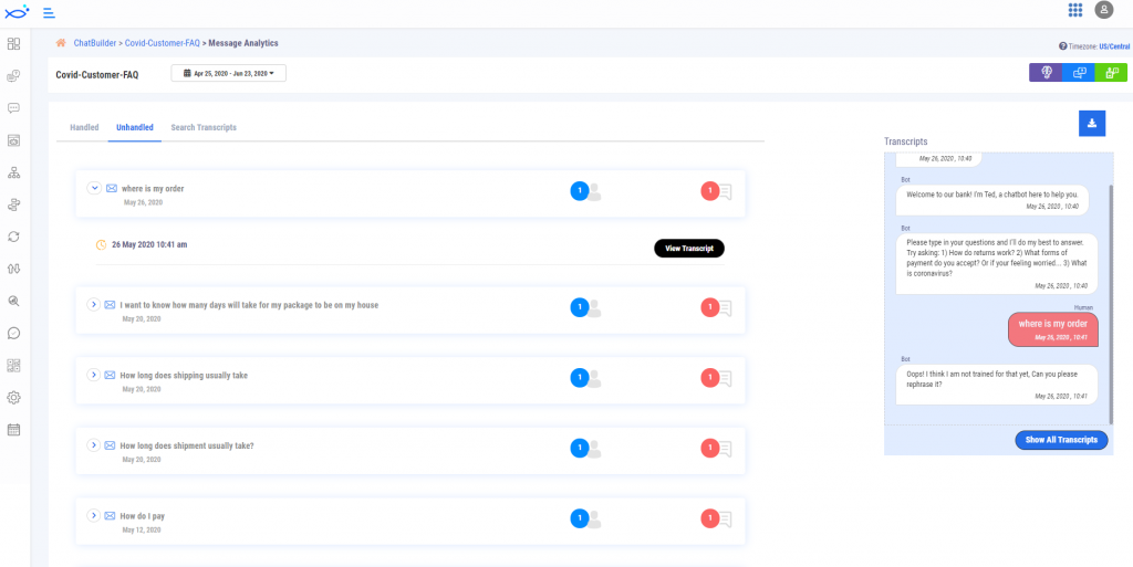 dashboard analytics highlight unhandled messages to correct - bluefish